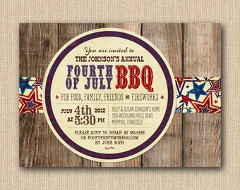 Fourth of July Invitations - Rustic 4th of July BBQ Mixed Type Printable Invitations