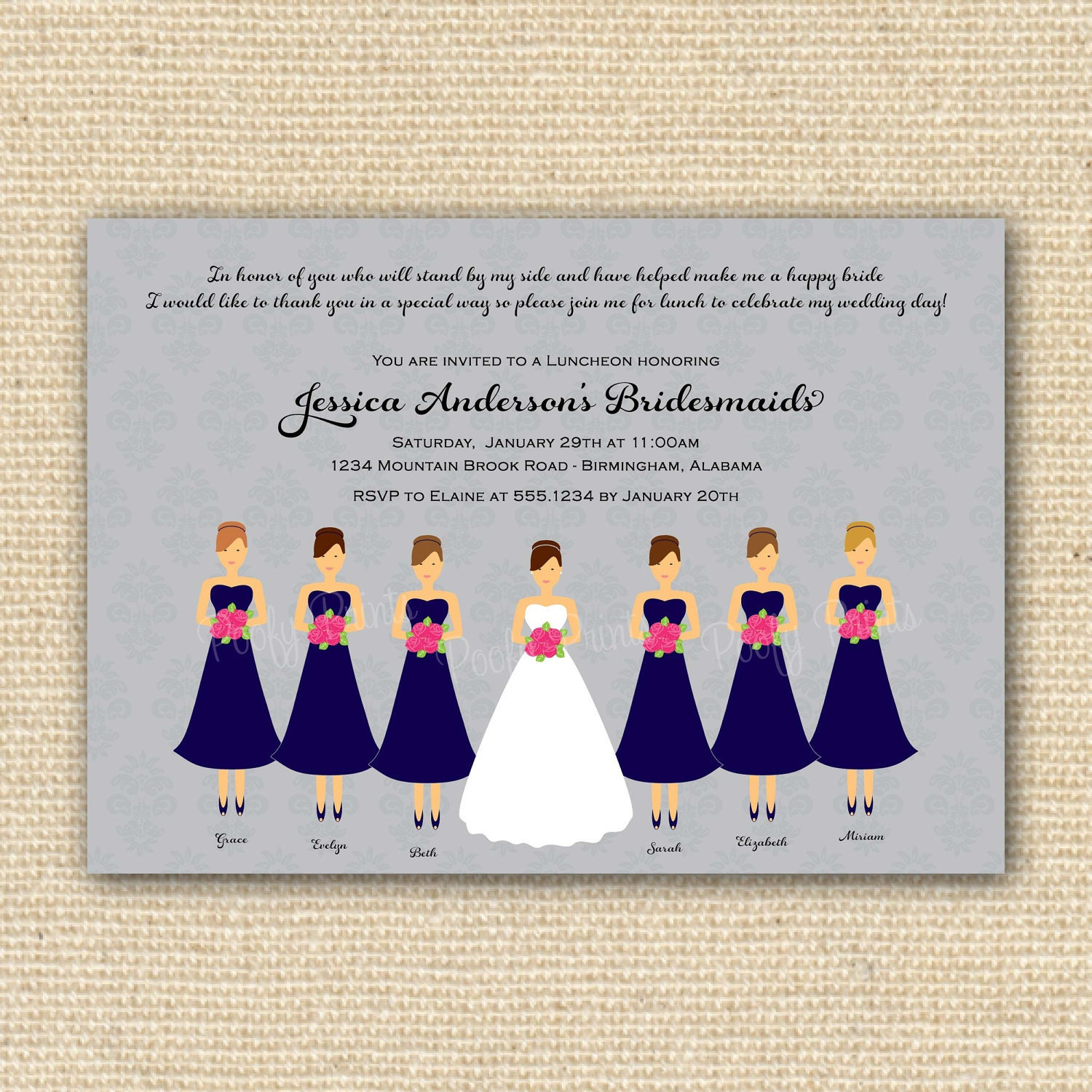 Bridesmaids luncheon invitation bridal brunch diy for Wedding brunch invitations