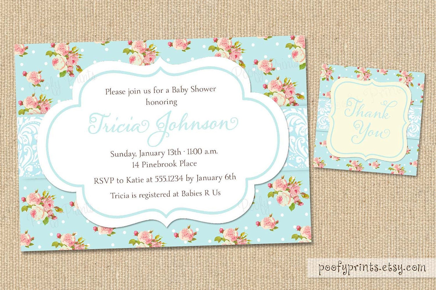 shabby chic baby shower invitations diy printable by poofyprints