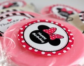 16 Large Round Chocolate Minnie Mouse Lollipops with Labels (8 pink 8 green) pink ribbon