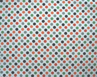 1 yard Boo to You by My Minds Eye for Riley Blake, White/Multi Color Dots