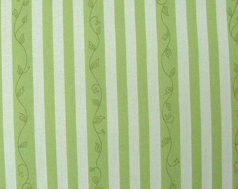 SALE 1 Yard - Elizabeth's Letters Green Stripe by Jil Finley for Henry Glass