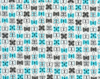 """End of Bolt 32"""" of Aqua Butterflies from the  Scribble Collection for Timeless Treasures"""