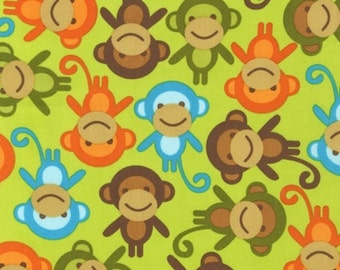 "1 Yard 29"" of Urban Zoologie by Ann Kelle for Robert Kaufman, Bermuda Green Monkeys LAST ONE"