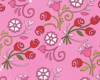 """End of Bolt 1 yard 6"""" Always Forever Passion Pink Hearts and Flowers by Deb Strain for Moda"""