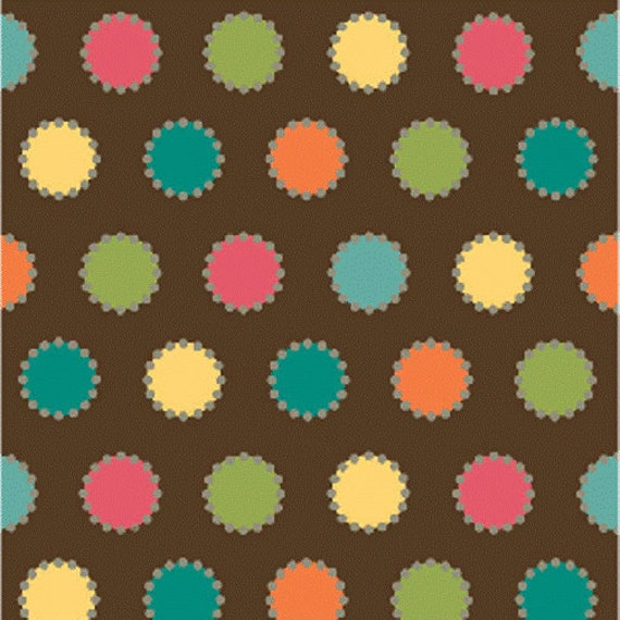 "SALE End of Bolt 1 Yard 16"" of Whimsy Brown Multi Polka Dots by Heather Mulder Peterson for Henry Glass"
