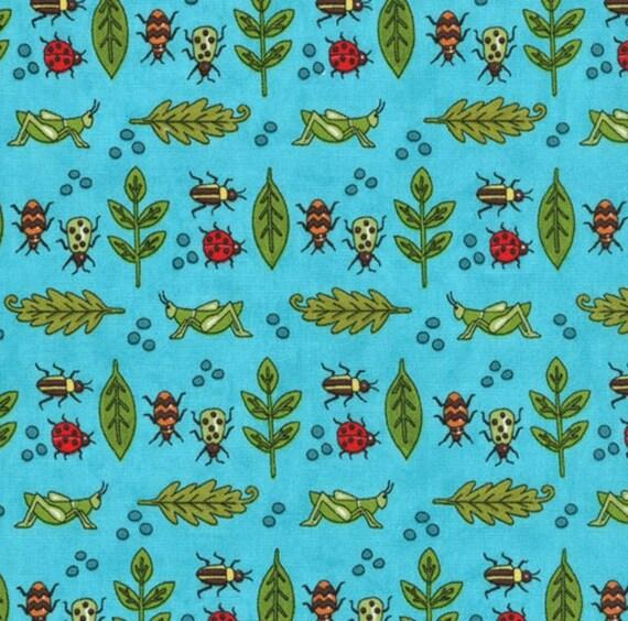 "LAST PIECE Sale 20% off 1 Yard 15"" Meadow Friends Pond Blue  Boy Bug Collection by Deb Strain for Moda"