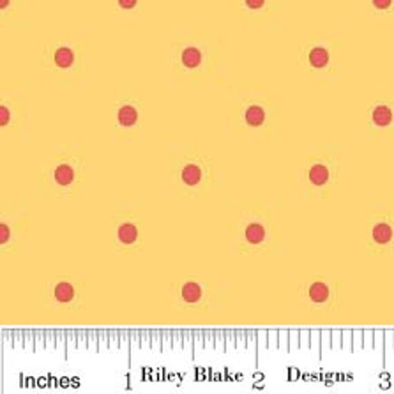 SALE 1 Yard  Delighted Yellow Polka Dot by The Quilted Fish  for Riley Blake