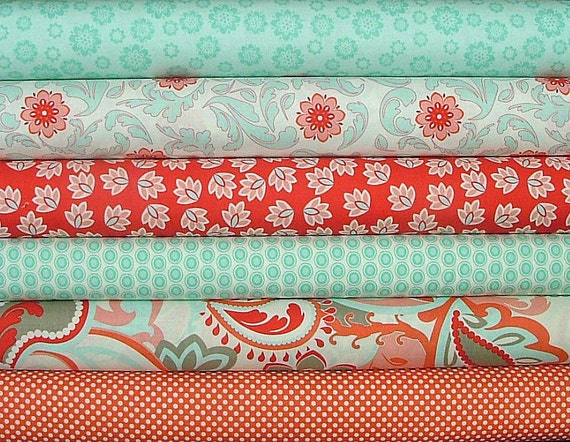 LAST ONE Fat Quarter Bundle of Verona in Red & Teal by Emily Taylor Design for Riley Blake