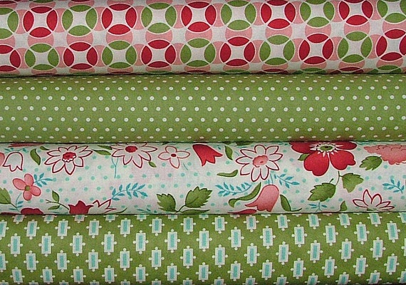 LAST ONE Fat Quarter Bundle of Vintage Modern in Greens by Bonnie & Camille for Moda