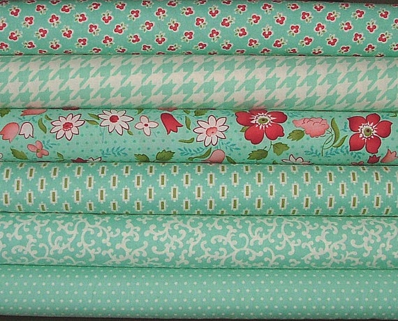 "LAST ONE 13.5"" Bundle of Vintage Modern in Teal by Bonnie & Camille for Moda"