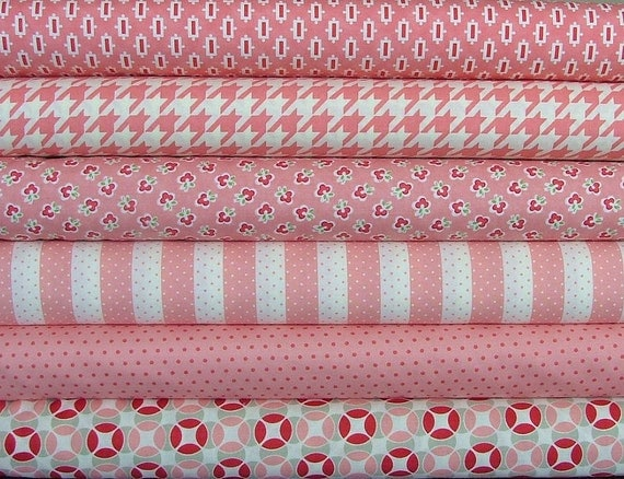 LAST ONE 6 Fat Quarters from the Pink Vintage Modern Collection
