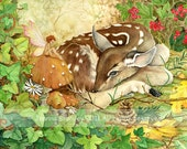 "Resting Fawn -fine art print  8x10"" on A4, whimsical childrens fairy fantasy illustration from original watercolor painting"