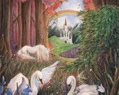 "Spring & Autumn Dreams, 8x10"" fine art print, fantasy fairy-tale nursery print"