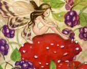 """Limited Edition ACEO """"Blackberry Fae"""", watercolour fairy, fantasy illustration"""
