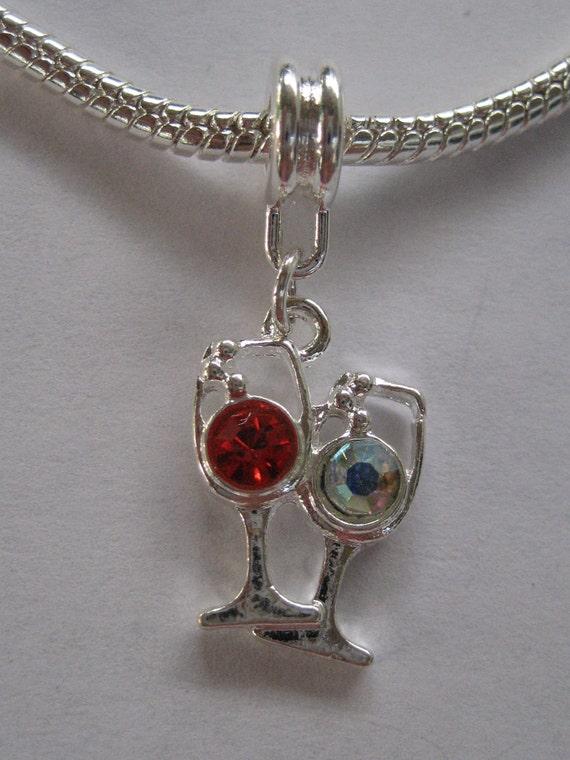 Red & White Wine Glasses Dangle Slide Charm for your Pandora Bracelet