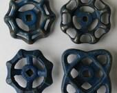 4  Sweet Blue Metal  Vintage Faucet  Handles