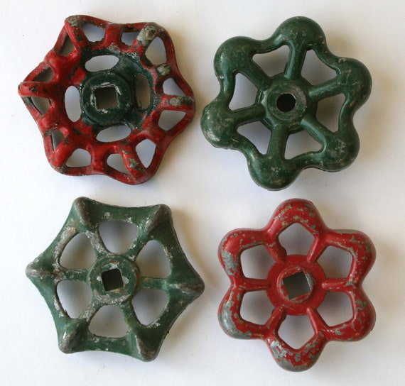 Set of 4  Sweet and Festive Red and Green Vintage Valve  Handles
