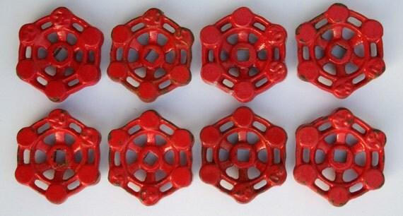 Set of 8 Super Patina Red Steel Vintage Valve Handles