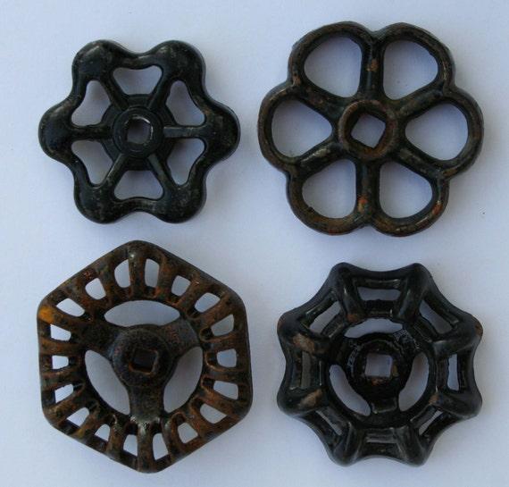 4  Wonderful Black Metal Vintage Faucet  Handles