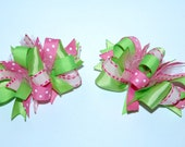 Funky Loopy Pigtail Bows - Set of 2 - Pink & Green  ////FREE shipping over 20 dollars////