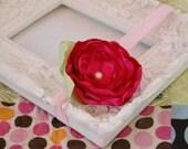 Hot Pink Singed Flower Headband - Medium