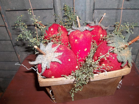 Gathering of Primitive Hand Made Strawberries in Stained Berry Basket with Wire and Twig Handle