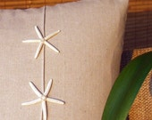 Coastal Sea Star pillow on natural fabric  for your beach house decor
