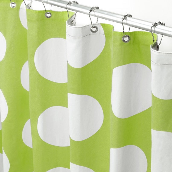 Items Similar To Shower Curtain Lime Green And White Polka Dot On Etsy
