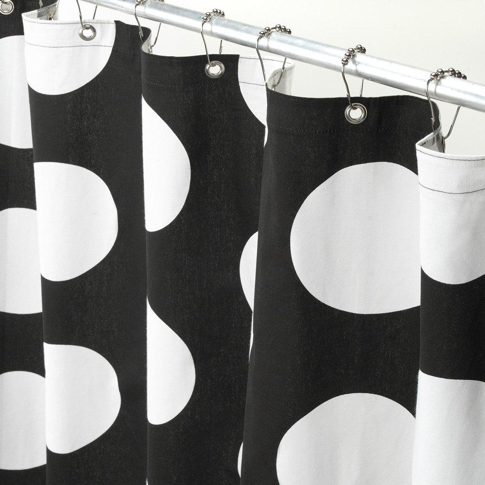shower curtain black and white polka dot. Black Bedroom Furniture Sets. Home Design Ideas