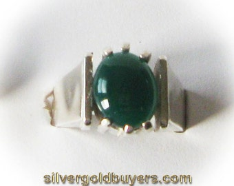 Sterling Silver Green Agate Cabochon Ring