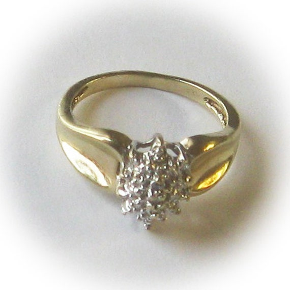 10 000 Up Diamond: 10K Gold Ladies Marquis Shaped Cluster Ring By