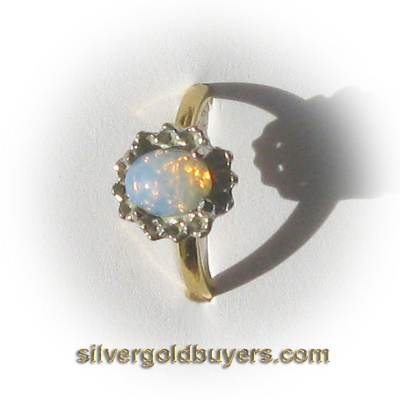 Ladies Iridescent Powder Blue And Pink Opal Fashion Ring