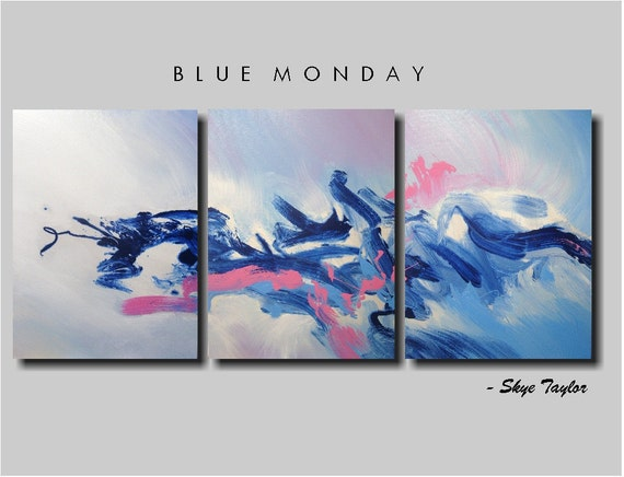 Abstract - Blue Monday - 24 x 54 - by Skye Taylor