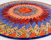 Quilted Medallion Table Topper - Tangerine and Brilliant Blue