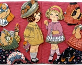 Cloth Paper Dolls - Victorian Inspired Ellie and Edna - Perfect Green Toy