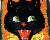 Halloween Bag - Black Cat Candy Basket Bucket Bin - Mesh Tote