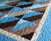 Quilted Table Runner - Aqua and Brown - Ready to Ship
