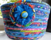 Basket Hand Coiled Rope Bowl Planter   Blue Multi