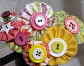 Yo-Yo and Button Flowers - Yellow and Pink - Cottage Chic