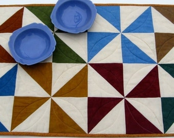 Quilted Table Runner Cottage Colors  Traditional Pin Wheels Handmade