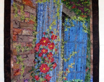 Art Quilt Hollyhock Cottage Wall Hanging Fiber Art Painting