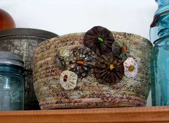 Woodland Pines Coiled Fabric Basket in Sage Green and Coffee Brown Batik