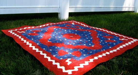 Quilted Table Topper Olympic Patriotic  Americana Wall Hanging