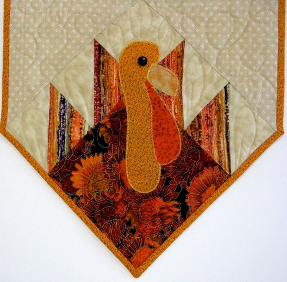 Thanksgiving Quilted Table Runner Patterns : Turkey Quilted Table Runner Autumn Thanksgiving by SallyManke