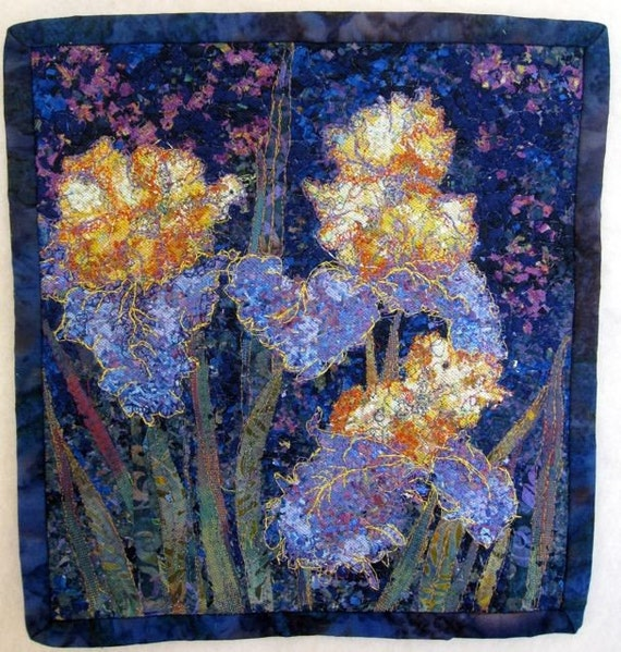 Art Quilt, Iris Wall Hanging, Purple and Gold Flowers