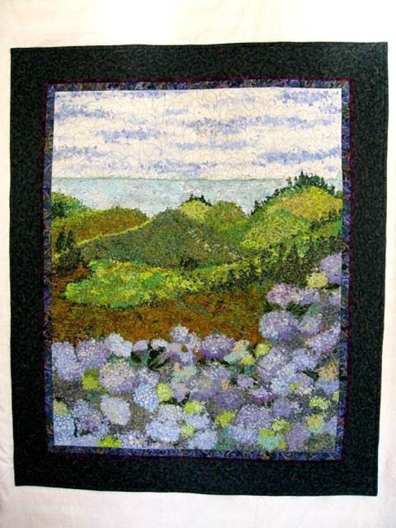 Fiber Art Quilt  Northwestern Hydrangea Landscape  Quilted Wall Hanging