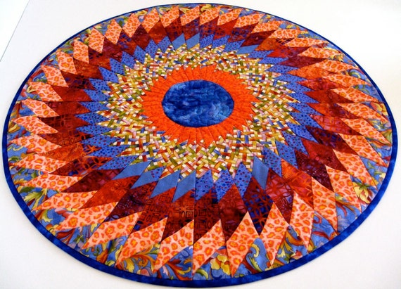 Quilted Table Topper, Medallion, Tangerine and Electric Blue