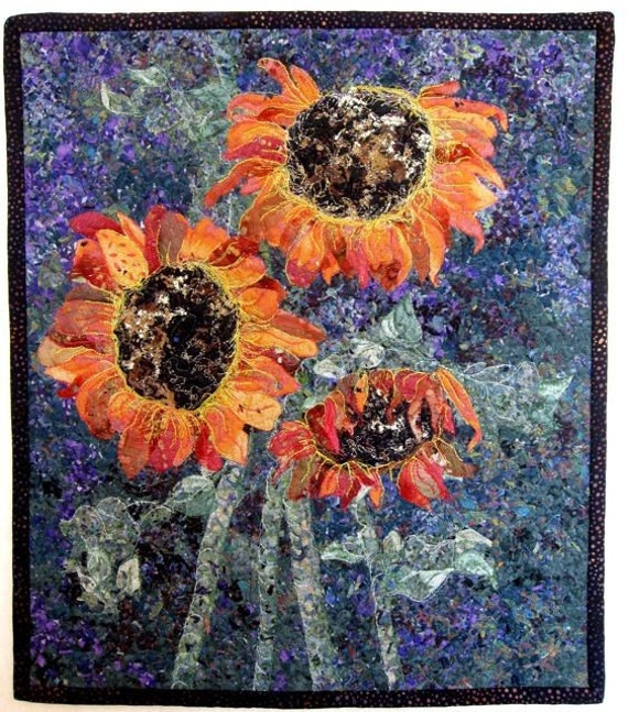 Art Quilted Autumn  Sunflowers  Wall Hanging