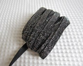 3 Yards Black With Silver Glitter Ribbon 3/8 inch - 19